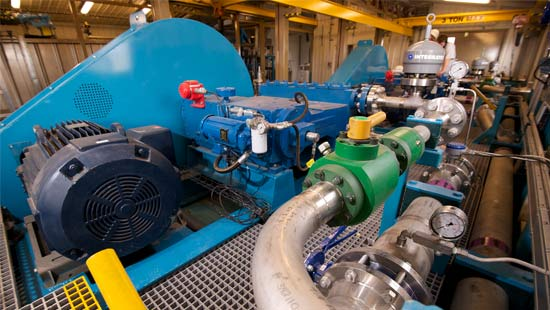 portable pump skid in an enclosed building
