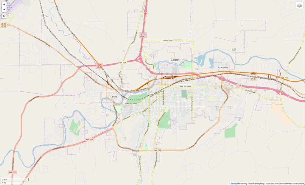 Map image of Casper railways, interstate and highways